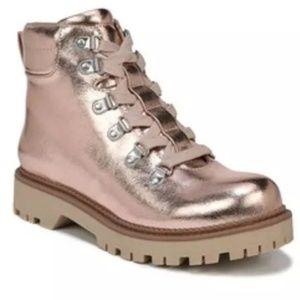 Sam Edelman Circus Rose Gold Metallic Combat boots